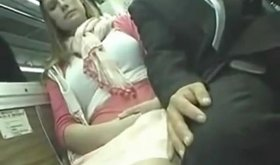 Busty chick gets groped and fingered on a bus