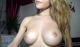 Sizzling hot blonde bimbo gives a wicked strip show