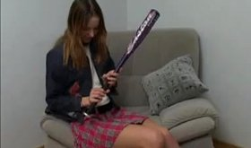 Sexy schoolgirl girlfriend fucking a baseball bat