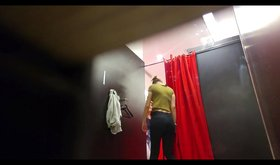 Changing room spy cam footage: blondie shows off