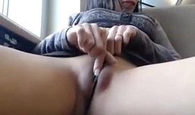 Smooth pussy horny hottie masturbating in public