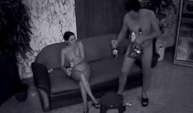 Spy cam footage showing drunk couple's hardcore activities