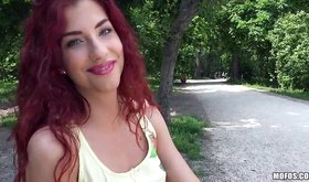 Young and beautiful redhead is ready to do everything for money