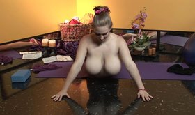 Christy Marks doing yoga and fingering her leaking pussy