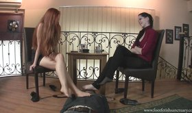 Two girlfriends with sexy feet getting serviced by a pathetic slave