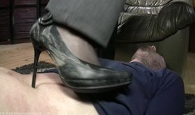 Dirty heels brunette trampling her slave before the clean-up