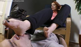 Leggy bitch shoving her sexy feet in this guy's disgusting face