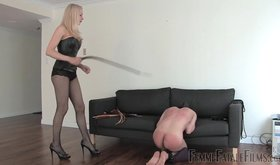 Latex-clad babe whipping her slave into submission (HD femdom)