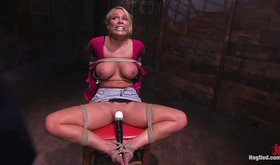 Disobedient blonde gets tied up and tortured with a vibrator