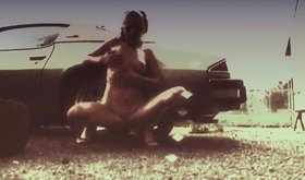 Bestial blonde is polishing her car with her naked body