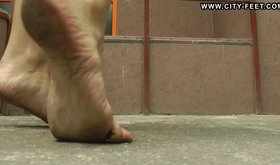 Perverted young girl is getting turned on when she is walking barefoot