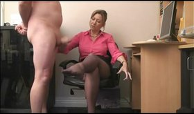 Kinky office babe is making that dick explode on her legs