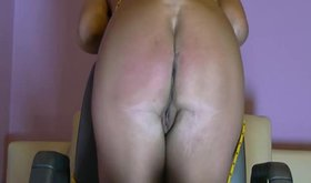 Slutty milf is getting slapped and caned by her man