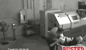 Security vid of factory worker fingering hot hooker