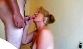 Brandy stuffing her hungry mouth with erect pecker