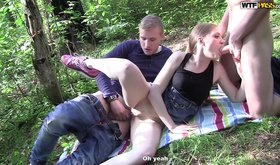 Pale amateur teen fucked by two guys in a forest