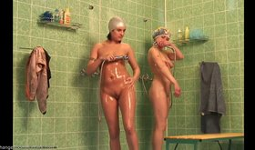 Two seductive chicks showering together on cam